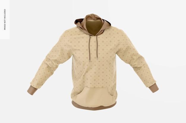 Maqueta de sudadera con capucha, vista isométrica