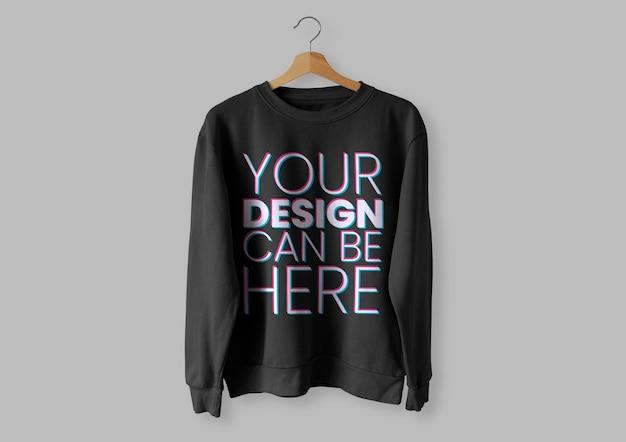 Maqueta de suéter frontal negro