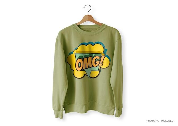 Maqueta de suéter frontal verde