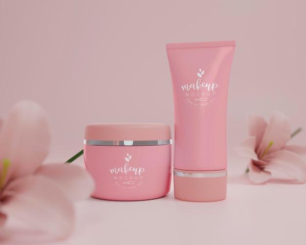 Maqueta de surtido de productos cosméticos