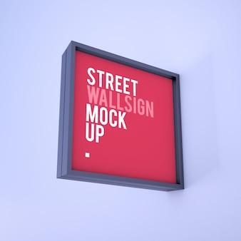 Maqueta de tablero de cartel con logotipo cuadrado moderno colgante