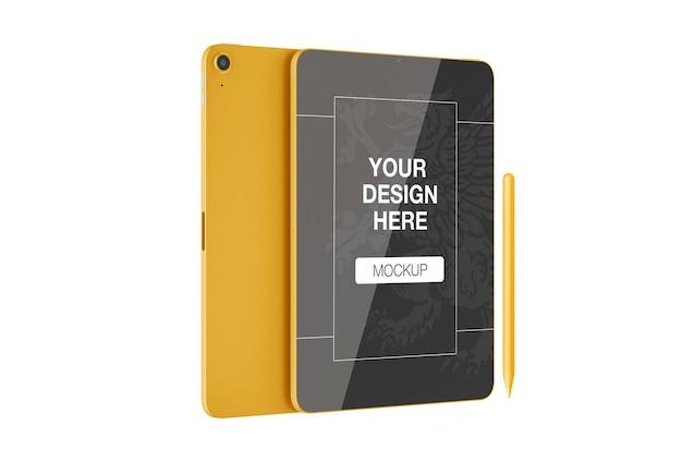 Maqueta de tableta con bolígrafo electrónico