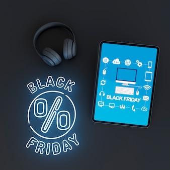 Maqueta de tableta con luces de neón azules