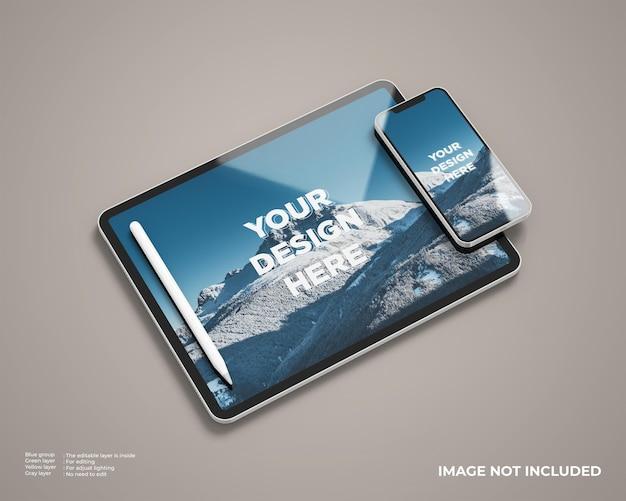 Maqueta de tableta en modo horizontal con teléfono inteligente y lápiz