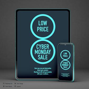 Maqueta de tableta y móvil para cyber monday aislado