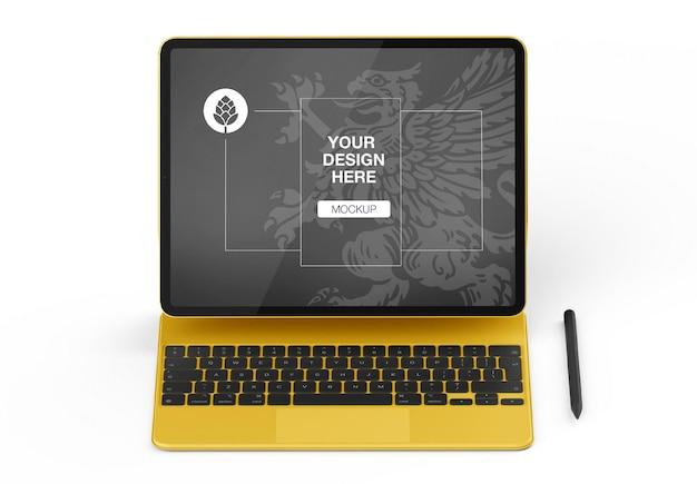 Maqueta de tableta con teclado