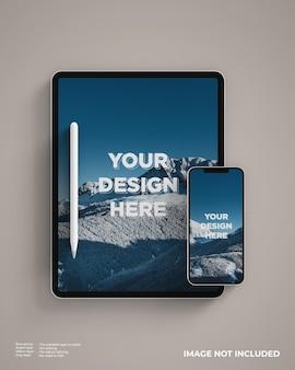 Maqueta de tableta con teléfono inteligente y lápiz