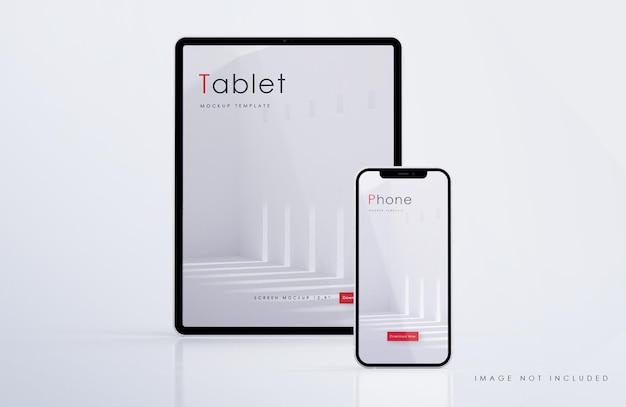 Maqueta de tableta y teléfono inteligente