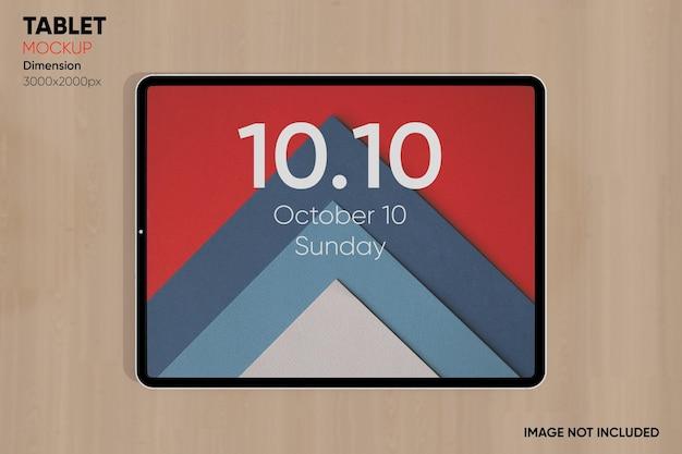 Maqueta de tableta de vista superior