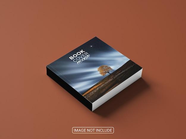 Maqueta de tapa dura de libro realista de vista lateral sobre fondo rojo claro