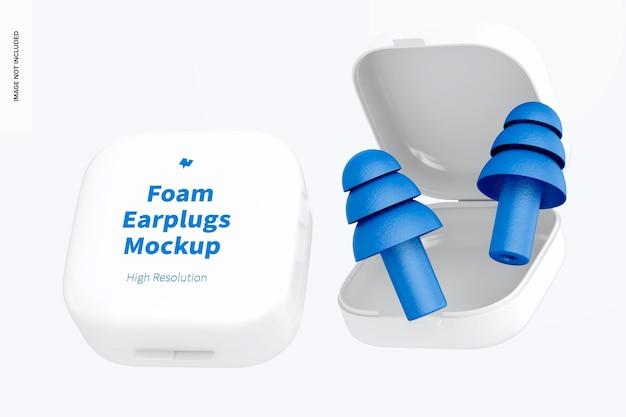 Maqueta de tapones de espuma para los oídos, vista frontal y posterior