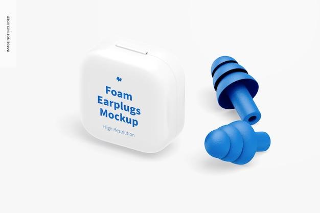 Maqueta de tapones para los oídos de espuma, vista isométrica