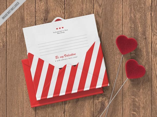 Maqueta de tarjeta de carta del día de san valentín