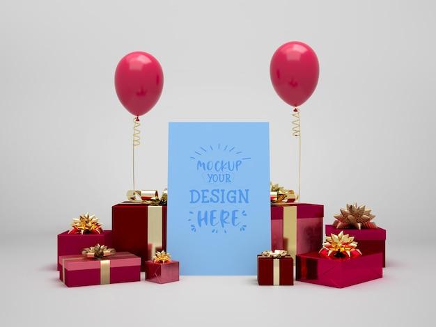 Maqueta de tarjeta de cumpleaños entre regalos y globos.