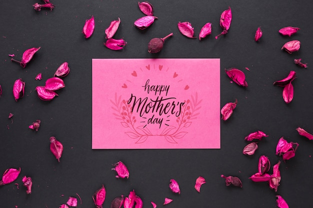 Maqueta de tarjeta del día de la madre con flores