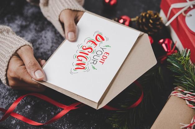 Maqueta de tarjeta de felicitación de feliz navidad