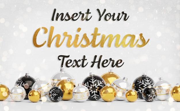 Maqueta de tarjeta de felicitación de navidad con texto y adornos dorados