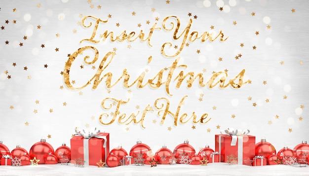 Maqueta de tarjeta de felicitación navideña con texto de estrellas doradas y decoraciones rojas