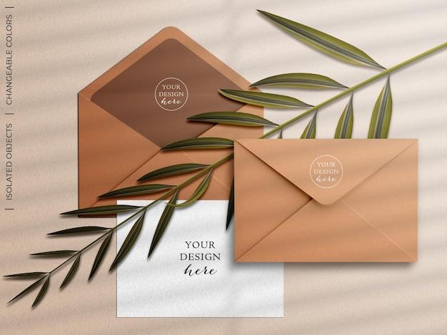 Maqueta de tarjeta de felicitación de sobre e invitación