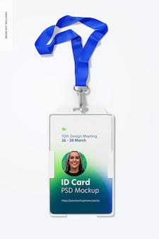 Maqueta de tarjeta de identificación con cordón y gancho giratorio