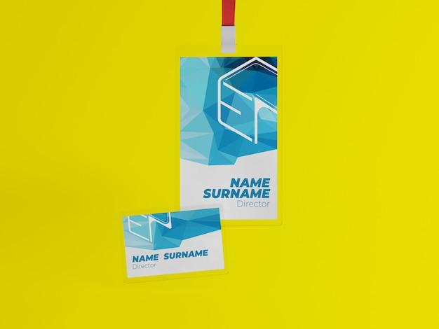 Maqueta de tarjeta de identificación con cordón y tarjeta de visita