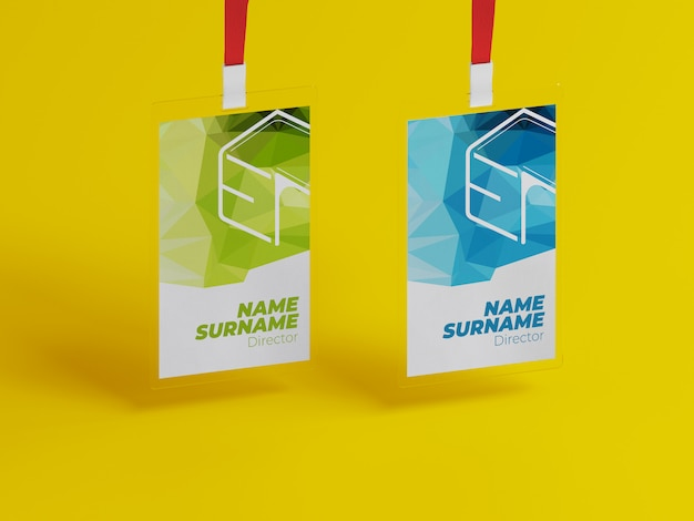 Maqueta de tarjeta de identificación con cordón