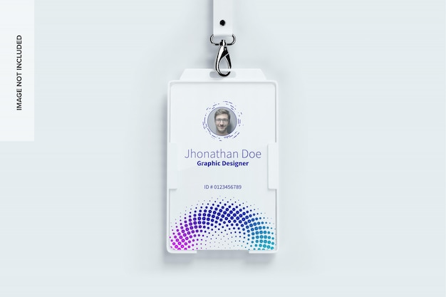 Maqueta de tarjeta de identificación vertical
