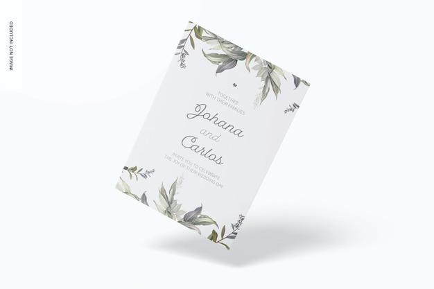Maqueta de tarjeta de invitación de acrílico esmerilado, flotante