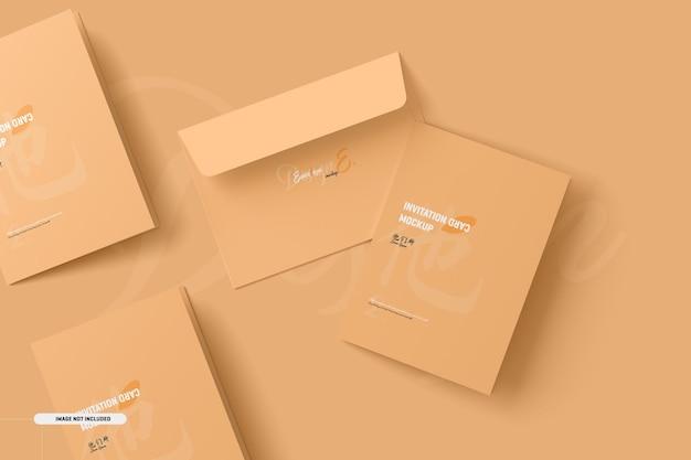 Maqueta de tarjeta de invitación plegada a5 a6