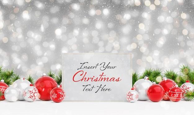 Maqueta de tarjeta de navidad con nieve que cae y adornos