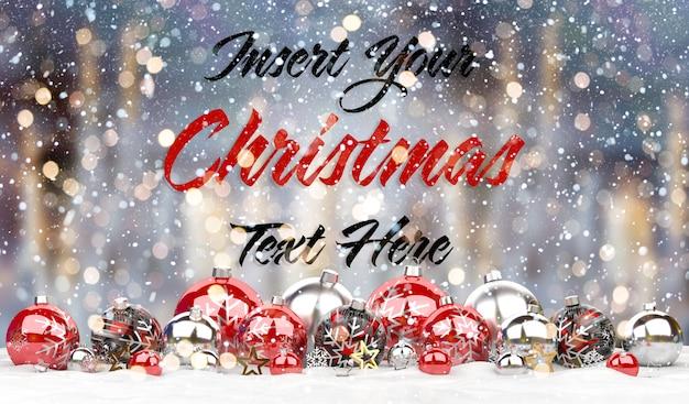 Maqueta de tarjeta de navidad con texto y adornos rojos en la nieve