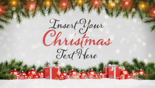 Maqueta de tarjeta de navidad con texto y adornos rojos