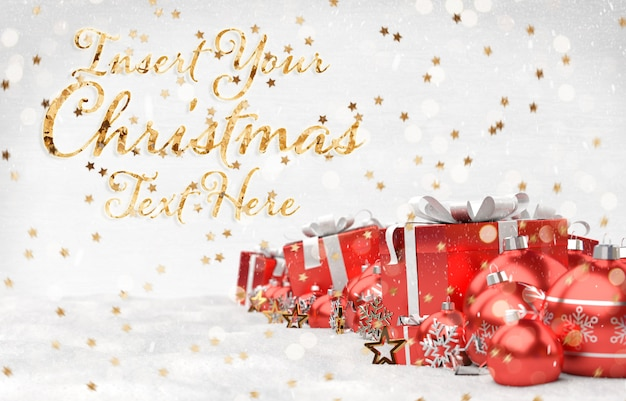 Maqueta de tarjeta de navidad con texto de estrellas doradas y decoraciones rojas