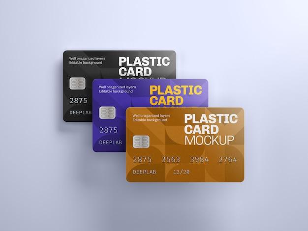 Maqueta de tarjeta de plástico con color de fondo editable