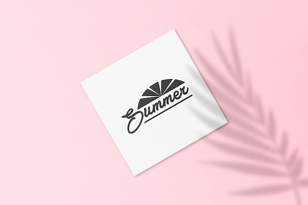 Maqueta de tarjeta postal de instagram de verano con sombra de hojas