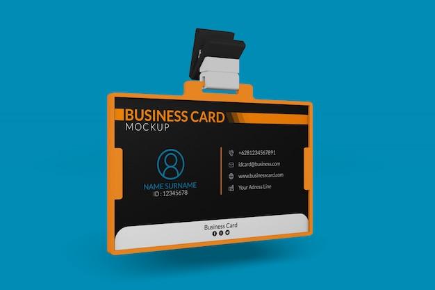 Maqueta de tarjeta de presentación en titular de identificación