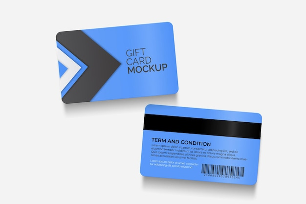 Maqueta de tarjeta de regalo moderna en el anverso y reverso