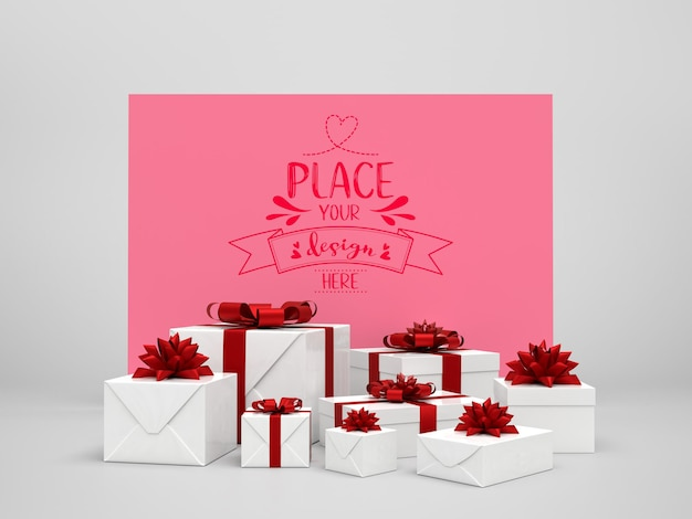 Maqueta de tarjeta entre regalos.