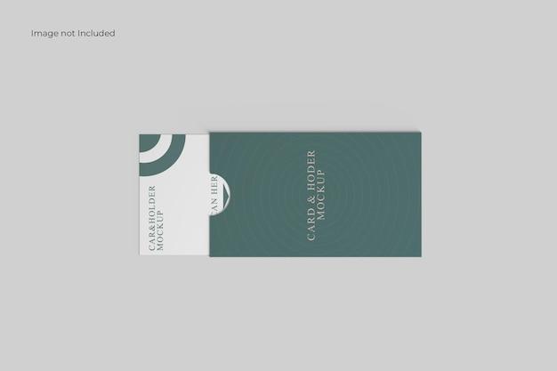 Maqueta de tarjeta y soporte de vista superior