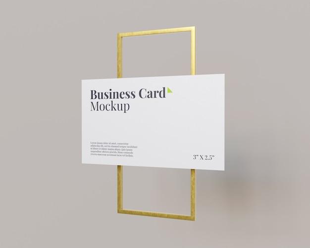 Maqueta de tarjeta de visita con anillo rectangular de oro