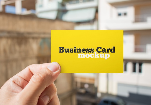 Maqueta de tarjeta de visita de cerca en papel