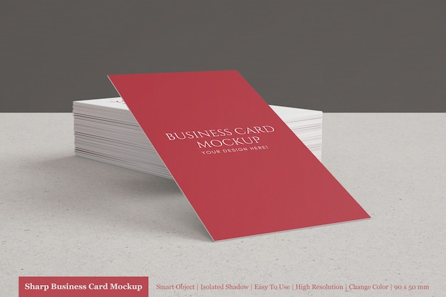 Maqueta de tarjeta de visita corporativa moderna apilable realista de 90x50 mm personalizable