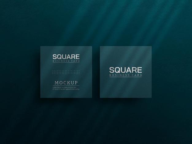 Maqueta de tarjeta de visita cuadrada con efecto de tipografía