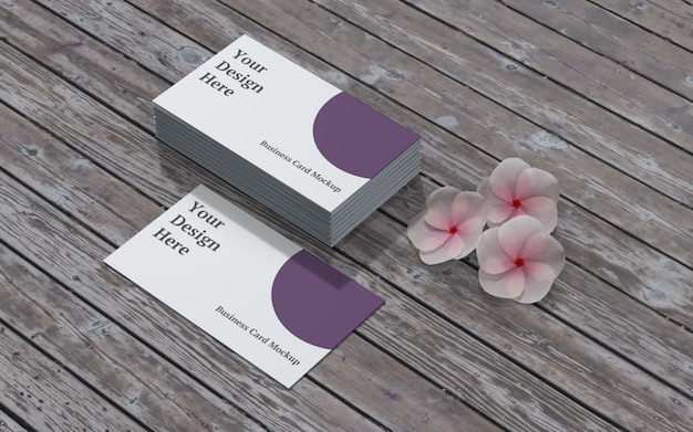 Maqueta de tarjeta de visita con flores y madera vista izquierda