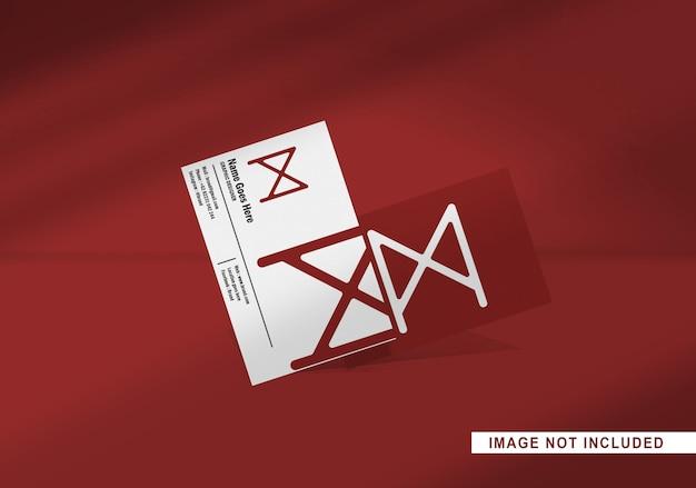 Maqueta de tarjeta de visita flotante aislada