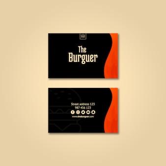 Maqueta de tarjeta de visita de hamburguesa