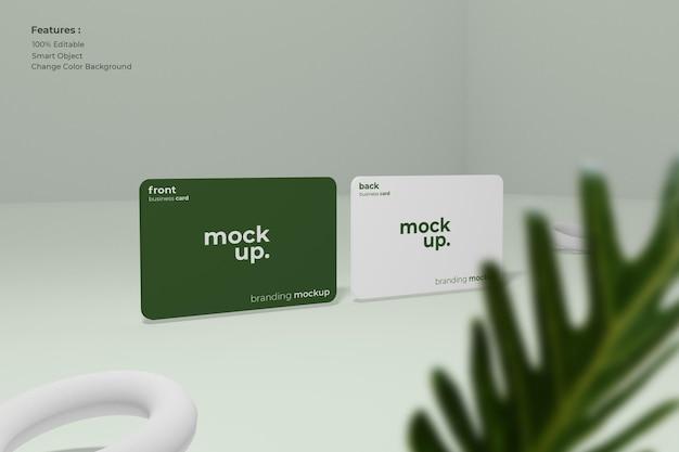 Maqueta de tarjeta de visita con hojas