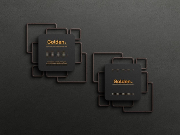 Maqueta de tarjeta de visita de lujo con lámina de oro