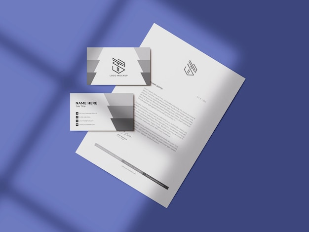 Maqueta de tarjeta de visita con maqueta de membrete