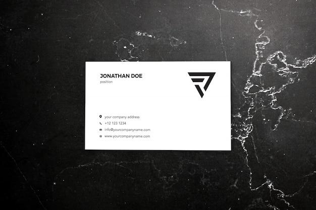 Maqueta de tarjeta de visita de mármol oscuro